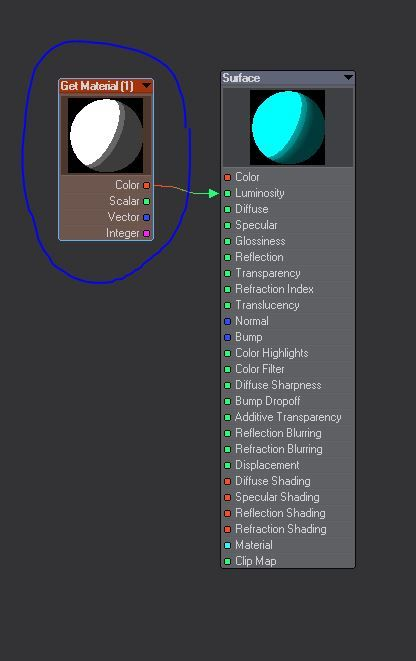 Im Lightwave3D Node Editor wird die Get Material Node Information in den Luminosity Kanal gespeist