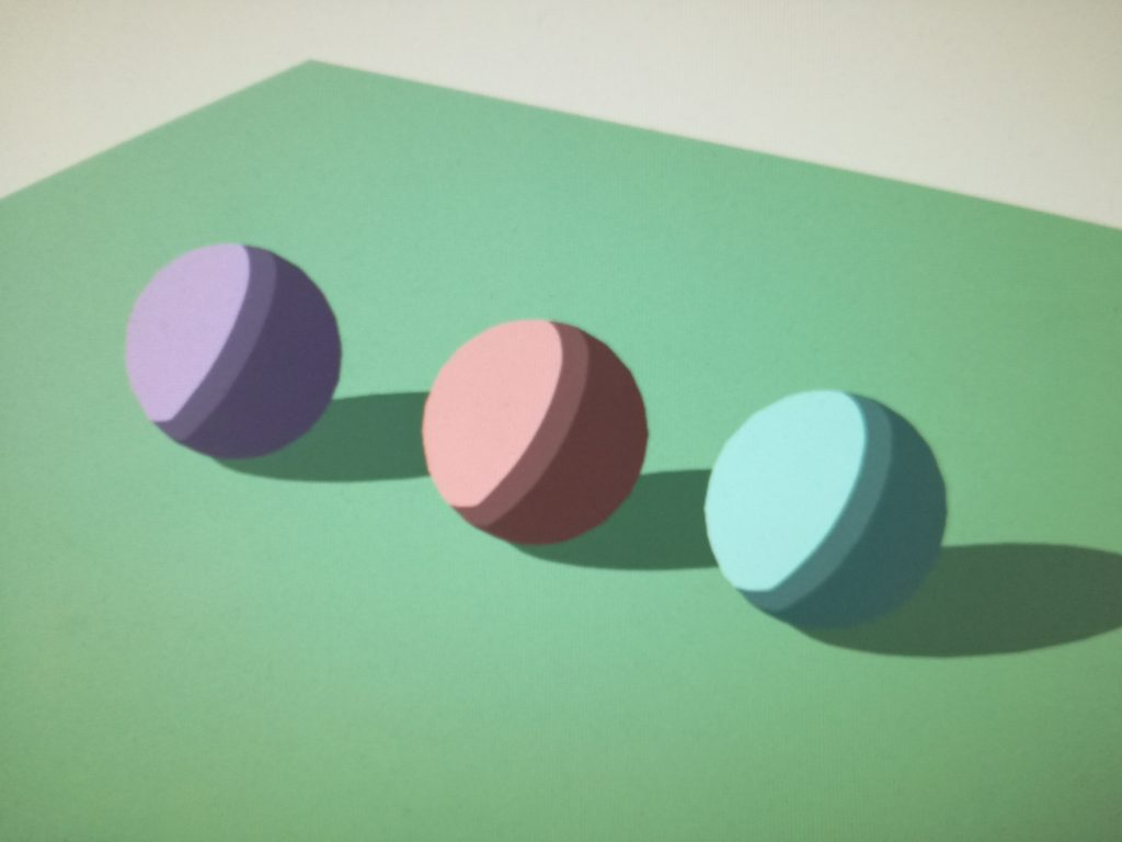 Drei Kugeln mit unterschiedlichen Farben aber mit gleichem Shading